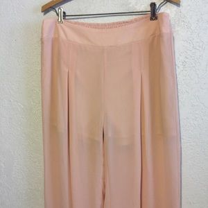 TCEC Pants - Silky Peach Lounge Pants with Lace by TCEC, Large